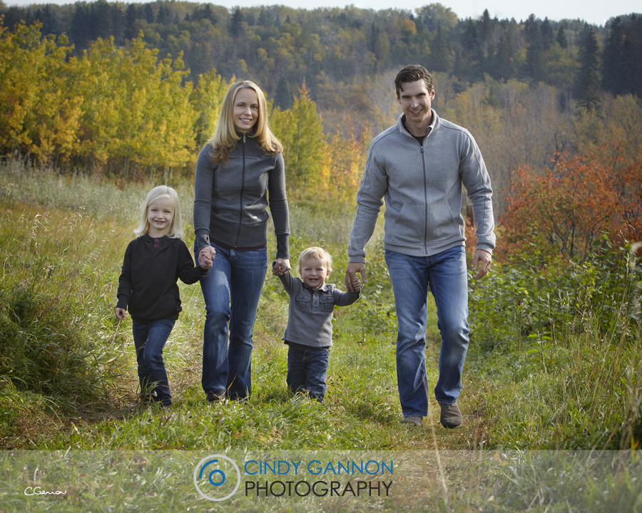 families wearing grey in the field